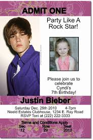 justin bieber birthday invitations candy wrappers thank you