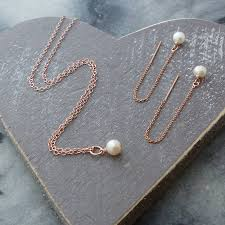 pearls necklace set images Rose gold and aa pearls jewellery set by myhartbeading jpg