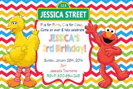 sesame street elmo birthday party invitation with colorful chevron