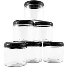 clear plastic kitchen canisters 16oz clear plastic jars with black plastic lids 6