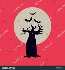 halloween illustration black silhouette tree moon stock vector