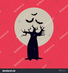 halloween spooky tree silhouette halloween illustration black silhouette tree moon stock vector