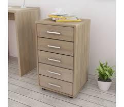 cassettiera da scrivania vidaxl cassettiera da ufficio con ruote 5 cassetti quercia vidaxl it