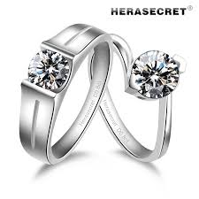 diamond couple rings images Amazing fire color fangzuan 80 couple rings simulation sona jpg