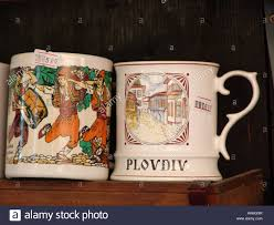 plovdiv mugs for sale in torist gift shop bulgaria stock photo