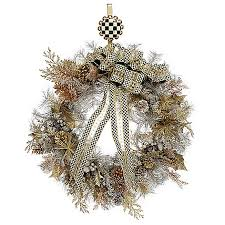 mackenzie childs choice of size ribbon detailed faux wreath w hanger