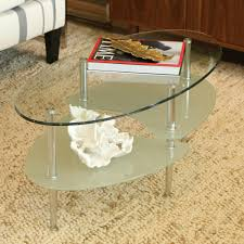 glass coffee table with glass shelf terrific living room table design featuring oval glass coffee table