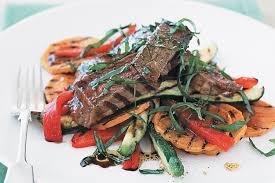Vegetables by Barbecued Steak And Vegetables