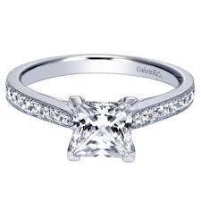 princess cut white gold engagement rings 14k white gold 1 82cttw classic bead set princess cut