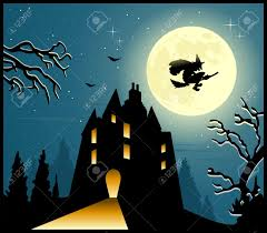 halloween background scary house trees flying witch and moonlit
