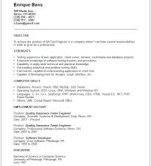 Sample Resume For Experienced Software Tester by Quality Assurance Resume Software Quality Assurance Resume Le