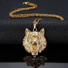 hip hop style necklace images Trendy high quality animal charm wolf head king pendant necklace jpg