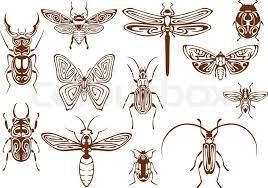 brown tribal butterfly bee moth dragonfly wasp ladybug