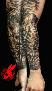 wolf in forest on half sleeve