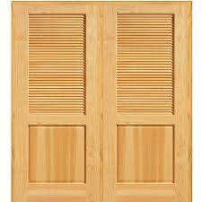 home depot interior doors wood mmi door 74 in x 81 75 in unfinished pine half louver 1 panel