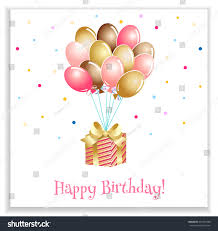 bright birthday greeting card balloons present stock vector