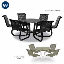 outdoor table with attached chairs plastisol coated commercial