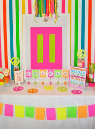 Dessert Table Backdrop by Dessert Table U0026 Backdrop For A Neon Birthday Party Http