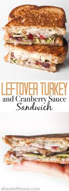 leftover thanksgiving turkey sandwich with cranberry sauce ahead