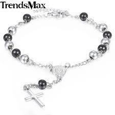 rosary bead bracelet trendsmax women s rosary bead bracelet jesus cross charm stainless