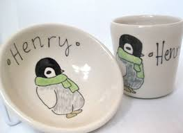 personalized bowl custom personalized baby gift penguin small bowl and juice cup