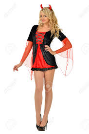halloween costume devil woman beautiful blonde woman in carnival costume of devil isolated