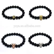 metal men bracelet images Black onyx bead bracelet for men bra1082 metal tiger and lion head jpg