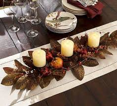 Centerpieces For Thanksgiving The Large Magnolia Leaves And Candles This Can Be Used For