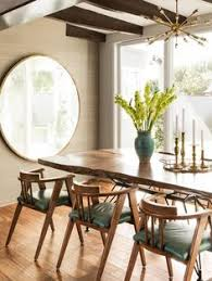 Mirror Dining Room Summer Home Showcase Blue Dining Rooms Trestle Tables And