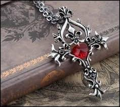 red gothic necklace images Antiqued pewter look gothic cross necklace fleur de lis red heart jpg