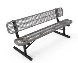 Expanded Metal Patio Furniture - rhino 8 foot rectangular thermoplastic metal bench with back