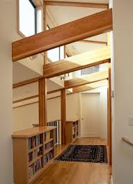Banister Wall Curved Glulam Beams Spaces Contemporary With Metal Look Mosaic
