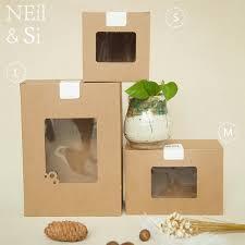 verpackung hochzeitsgeschenk braunen papierkasten mit fenster bäckerei kuchen hochzeitsgeschenk