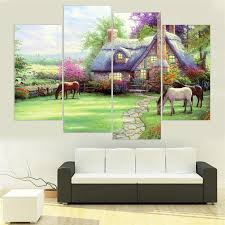 landscape country house and horse home decor hd printed modern art