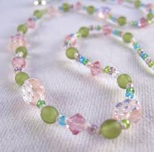pink beads necklace images Girls necklace pink iridescent flower swarovski crystals green jpg