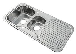 Kitchen Sinks Inset  Bowl Polished Finish With Drainer And - Kitchen sink waste kit