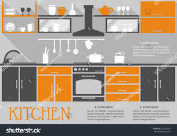 flat kitchen interior design fitted kitchen stock vector 236554027