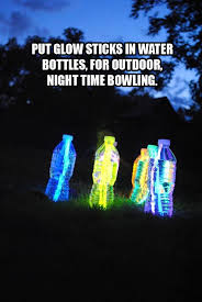 night time bowling water bottle recycle camping glow stick