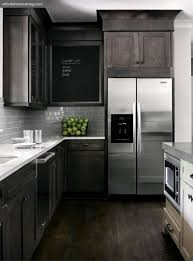 dark rustic wood mixed with modern elements gray white kitchen