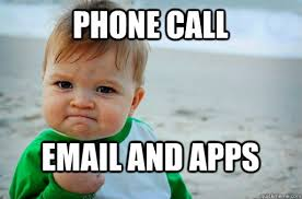 Baby On Phone Meme - phone call email and apps success baby meme quickmeme