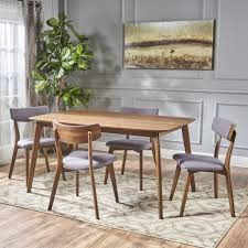 aman mid century finished 5 piece wood dining set with fabric