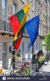 Flag Of Lithuania Picture National Flag Of Lithuania Alongside The Eu Flag Outside The Stock