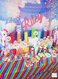 my pony party ideas sparkle rainbow candy table my pony party theme soiree