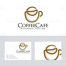 coffee cafe vector logo with business card template stock vector