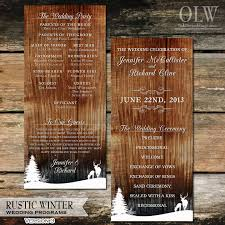 Country Wedding Programs Rustic Winter Deer Woodland Wedding Program Wood