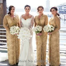 aliexpress com buy fashion gold lace bridesmaid dress with full