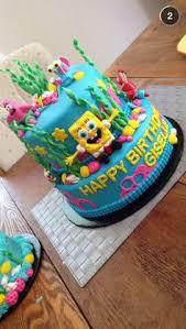 spongebob birthday cake spongebob birthday cake two tiered fondant spongebob cake used