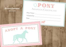printable adopt a pony adoption certificate and box or bag