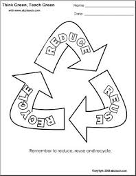 coloring page think green reduce reuse recycle triangle