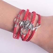 bracelet fire images Men leather bracelet vintage punk antique silver dragon bracelets jpg
